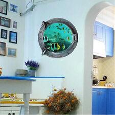 3D Wall Stickers Porthole Colorful Fish Sea Ocean Window Vinyl Room Decor