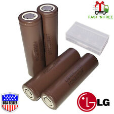 4 Authentic LG HG2 18650 Flat Top 3000mAh 20A Rechargeable Battery / Free Case