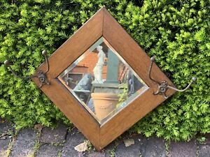 Large Antique American Solid Oak Victorian Mirror & Hat Coat Rack With Hooks
