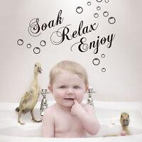DIY DECOR Soak Relax Enjoy STICKERS REMOVABLE VINYL ART BATHROOM WALL DECALS