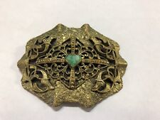 Vintage Victorian Brooch Pin Brass W Green Center Stone Signed C&R