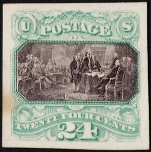 US # 120P4 MINT NGAI { -XF- 24c DECLARATION INDEPENDENCE } PROOF ON CARD OF 1869
