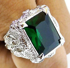 GREEN EMERALD DRAGON CLAW AXE SILVER BRASS RING Sz 8