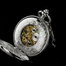 Sliver Mens Antique Classic Roman Steampunk Mechanical Pocket Watch Pendant UK