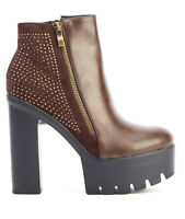 Ladies Womens High Heel Chunky Cleated Platform Chelsea Ankle Boots Shoes Size 8