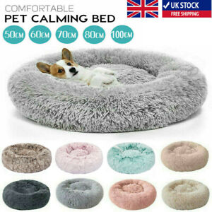 Dog Cat Pet Calming Bed Warm Soft Plush Round Nest Comfy Sleeping Kennel Cave UK