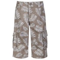 Boys Cargo Shorts Kids Ex Branded Casual Summer Holiday Palm Tree Beige & White