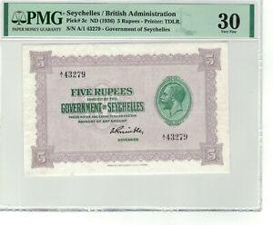 SEYCHELLES P# 3c 1936 (ND) 5 RUPEES PREFIX A/1 PMG 30 VERY FINE