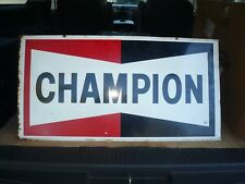Original CHAMPION Double Sided Gas Oil Sign  - Vintage