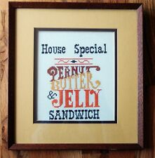Cross Stitch PEANUT BUTTER Sandwich Completed Finished Framed With Mat PBJ