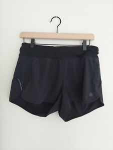 Athleta Womens Ready Set Go Black Shorts Gym Running Stash Pocket Medium
