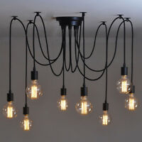 Retro Vintage Chandelier Ceiling Spider 9 Lamp Holder Industrial Pendant Light
