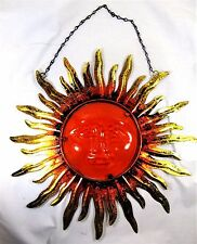Sun Face Red w/ Gold Distressed Rays Metal & Glass Wall Art Home Decor