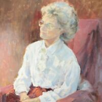 English School oil painting Portrait lady & chair impressionist mid 20th century