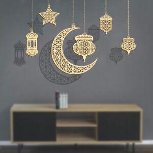 Wooden Moon stars Ramadan Decorations for home Kareem Decoration Hanging PenBDA