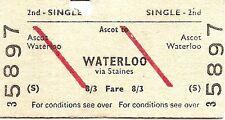 B.R.B. Edmondson Ticket - Ascot to Waterloo