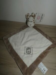 doudou girafe grelot blanc beige marron  ZDT action neuf