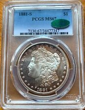1881 S MORGAN DOLLAR GRADED PCGS MS67 CAC SEMI PROOFLIKE SURFACES OUTSTANDING!