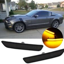 Smoke Front Amber LED Bumper Side Marker Light Pair For 10-14 Ford Mustang V6 GT
