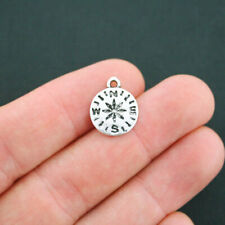 Bulk 50 Compass Charms Antique Silver Tone Smaller Size - Sc5120