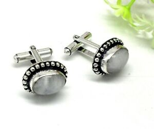"Handmade 925 Sterling Silver Rainbow Moonstone Gemstone Jewelry Cuff Links S-1"""