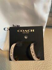 NEW! Coach Logo Hoop Earrings White Enamel Rose Gold Earrings - FREE SHIPPING