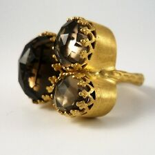 """Kevia """"Rococo"""" Style Triple Cluster Rose Cut Smoky Quartz Crown Lace Bezel Ring"""