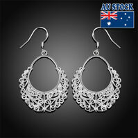 Wholesale 925 Sterling Silver Filled Retro Hollow Weave Dangle Earrings Party