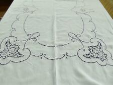Antique Italian Linen 68x106 Banquet Tablecloth Point de Venise Lace Embroidery
