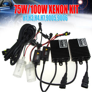 Xenon 75W/100W H1 H3 H4 H7 H11 H8 9005 9006 HID Headlight DRL Kit Bulbs Ballasts