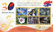 Bhutan 2017 MNH Diplomatic Relations Korea 6v M/S Flowers Temples Stamps