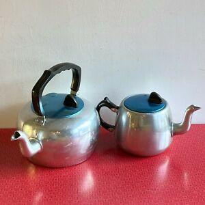 Vintage Stove Top Kettle And Matching Tea Pot With Blue Anodised Lids