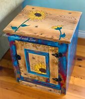 Burnt Wood & Watercolor Nightstand, Farmhouse Style, Vintage, Storage Cabinet
