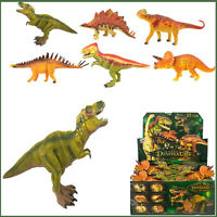 6 Dinosaur Jurassic Dino Assorted Figure Kids Toy Collection Hard Rubber