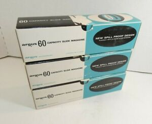 Lot of 3 Vintage ARGUS #587 60 Capacity Slide Trays Spill Proof New