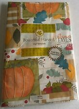 """FALL  VINYL TABLECLOTH 60"""" Round  AUTUMN LEAVES Seats 4"""