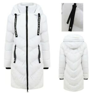 Women's Ladies Long Quilted Padded White Coat Hooded Puffer Jacket Zip Pockets