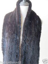 2XL# Elegant  Men's  Real  Mink fur knitted scarf  (Brown)