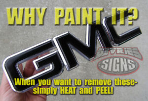 *FITS SIERRA ONLY!* PRECUT GMC domed (gel coated) & non-domed emblem overlays