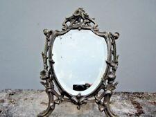 Miroir de table decor fleurs pavots d'époque Art Nouveau 19ème signé PAVOT