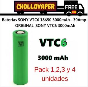 Baterías SONY VTC6 3000mAh - 30Amp - ORIGINAL -  SONY VTC6