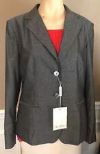 Women's MAX MARA Jacket Blazer Wool Silk Charcoal Sz 12 *NWT* Msrp $1000
