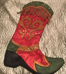 Western Christmas Stocking Embellished Green Red Cowboy Boot Ranch Rodeo NEW