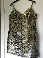 Topshop Gold/Black Metallic Snakeskin Print Party/Occasion Dress Size 12
