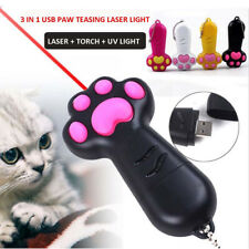 Funny Cat Paw LED Laser Pointer UV Light Pet Teaser Interactive Training Tool