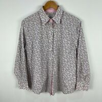 Gloster Womens Button Shirt Top 16 Multicoloured Floral Long Sleeve Collared