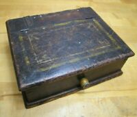 Antique Wooden Box HInged Top Front Knob Old Yellow Paint Detail Make Do Artwork