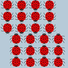 24 colour printed Red Ladybird stickers decals wall , car, furniture, fridge etc