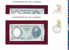 Banknotes of All Nations Chile 1981 50 Pesos P-151b UNC 2 Consecutive