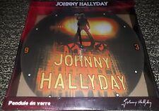 NEUVE SOUS BLISTER JOHNNY HALLYDAY PENDULE HORLOGE EN VERRE FANAVENUE DE 38 CM